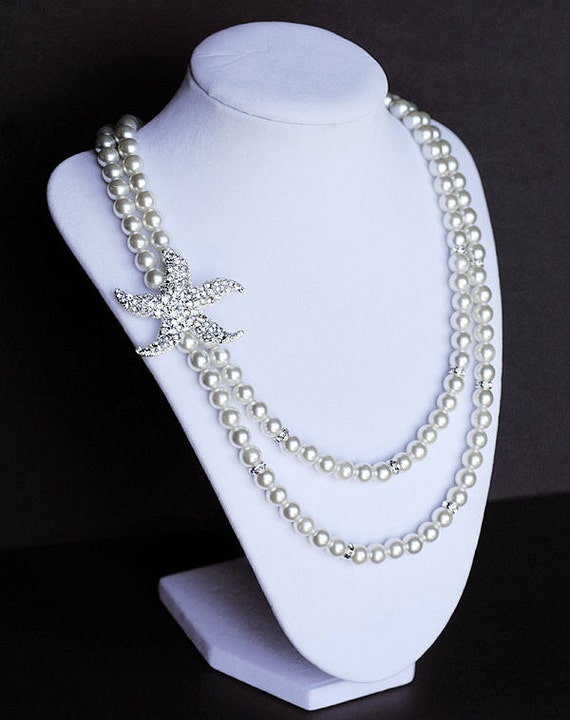 Bridal Pearl Rhinestone Necklace Double Strand Crystal Beach Wedding Jewelry STARFISH Collection White or Ivory US NK026LX