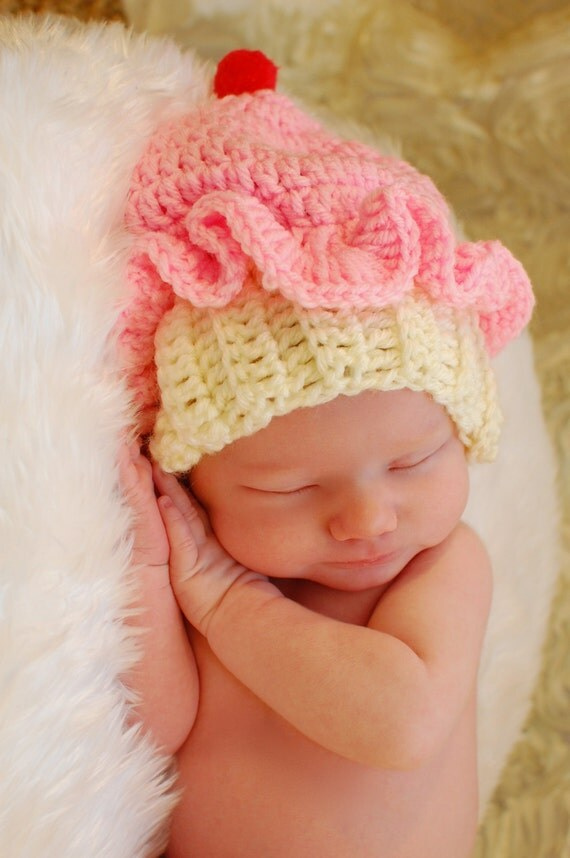 Cupcake hat - crocheted cupcake hat - photo prop - newborn photo prop - free shipping - cupcake - baby hat - infant hat - toque - unique