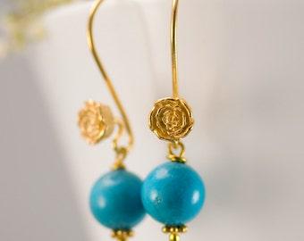 December Birthstone Earrings - Turquoise Earrings - Gold Earrings - Flower Earrings