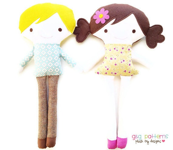 Doll Sewing Pattern - Girl Doll Sewing Pattern - Boy Doll Sewing Pattern - Toy Doll Pattern