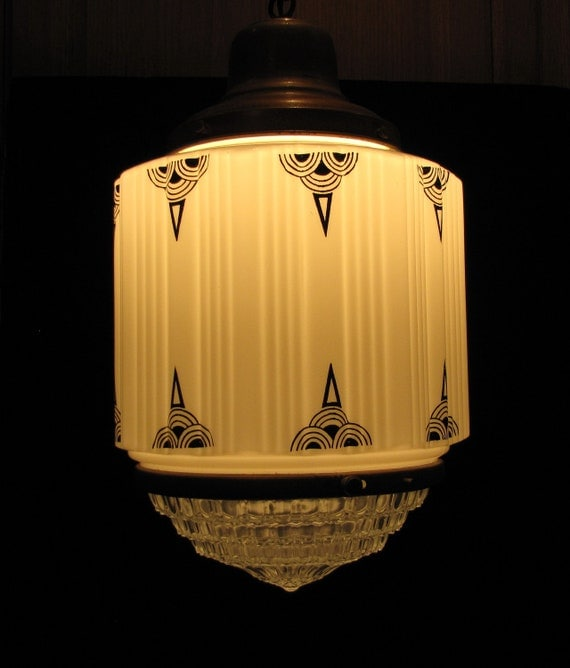 """Vintage Art Deco Hanging Ceiling Pendant """"FREE SHIPPING"""""""