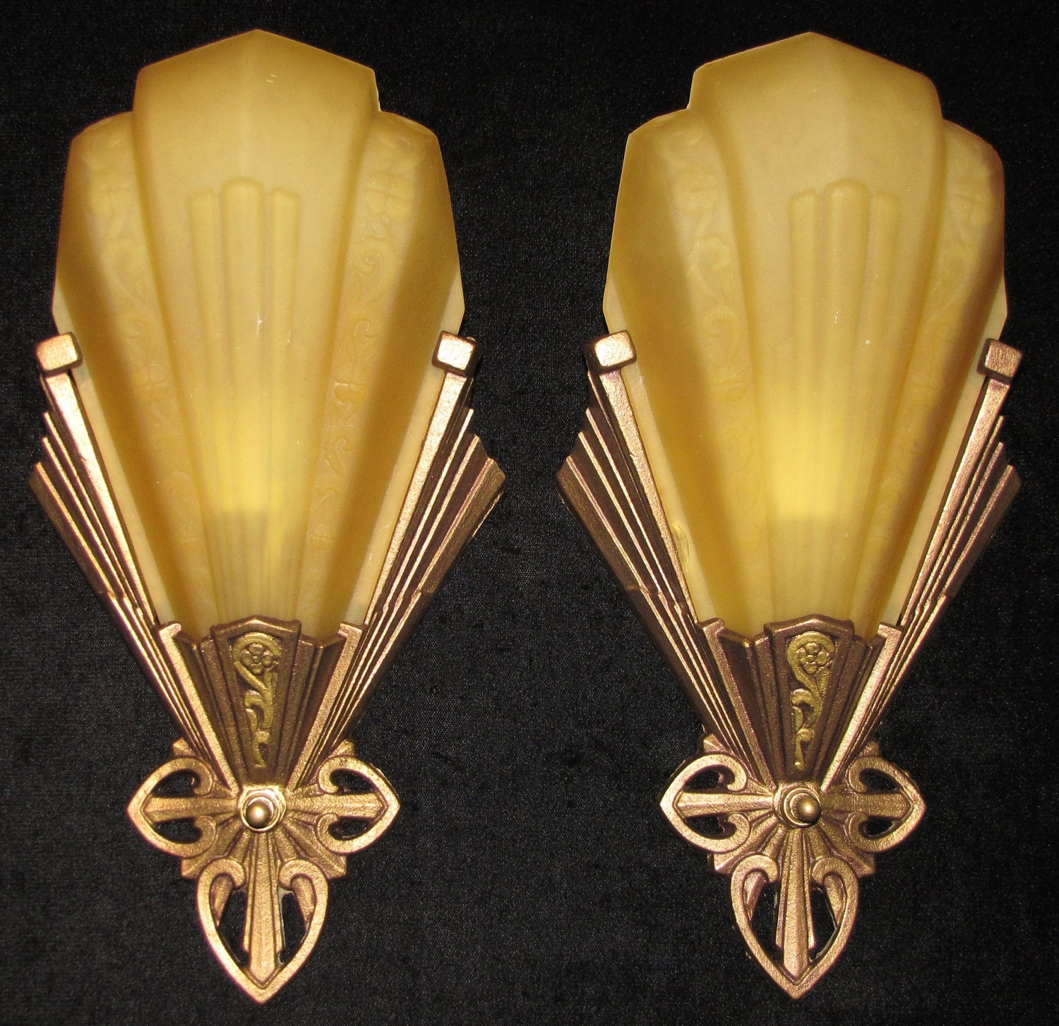 Wall Sconces Deco : Vintage Pair Art Deco Slip Shade Wall Sconces / Virden