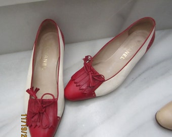 red and cream chanel shoes