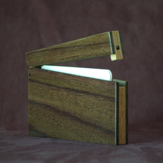 Wood Business Card Holder and Credit Card Case - East Indian Rosewood and Teak
