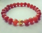 Mala Gemstone Bracelet Peach Moonstone Meditation, Yoga, Buddhism, Chakra, Hinduism, Mantra
