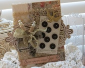 Vintage Inspired shabby chic SEW Happy For You Embellished handmade card