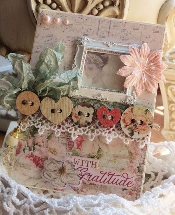 Shabby Chic Frame Vintage Inspired With Gratitude All Occasion Embellished Handmade card