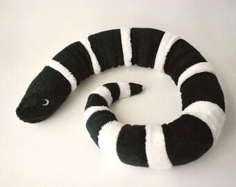 Snake Plush Toy  - Black and White Striped Stuffed Animal - Coral Snake or King Snake