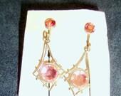 Pretty in Pink Rhinestone Screw Back Earrings