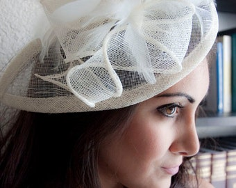 """Ivory Fascinator - """"Penny"""" Mesh Hat Fascinator with Mesh Ribbons and Ivory Feathers"""