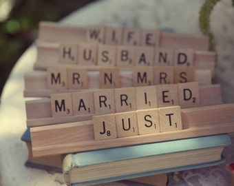 Vintage Wedding & Event Customizable Scrabble Signs, Cake Toppers, Guest Book or Head Table, Birthday, Bridal or Baby Shower Gifts Decor