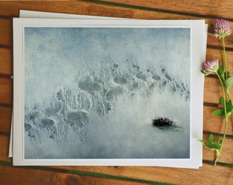 Winter image, footsteps in the snow, deep snow, surreal photography art, fantasy nature picture, whimsical art from Norway, 5x7 photo