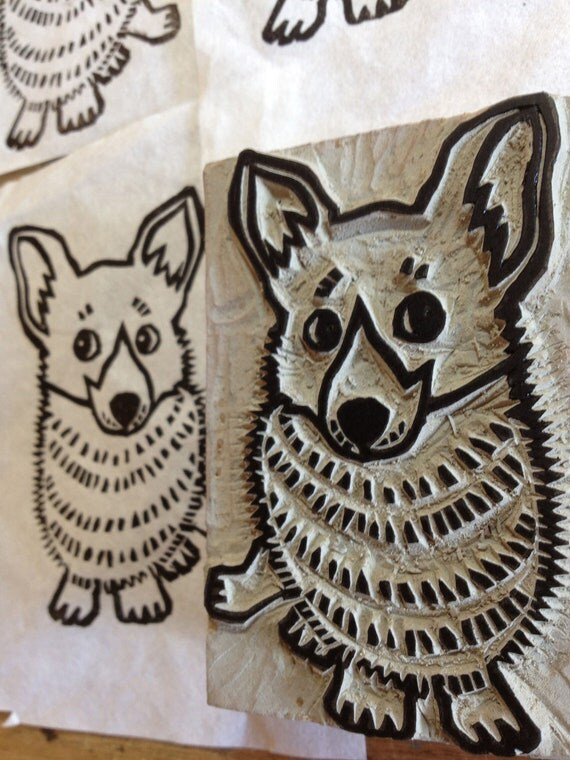 Items similar to corgi stamp hand carved linoleum block