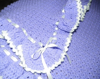 Baby Girl Afghan Easter Lilac  Blanket   Perfect for a Gift Ready to Ship