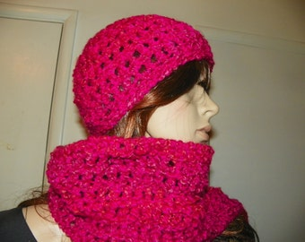 Hot Pink and Magenta Scarf and Hat Ready to Ship