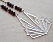 Modern Laser Cut Necklace Lilac Stone Minimalist Bold Statement Necklace Long Dramatic Purple