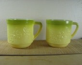 2 Vintage 1970's yellow and green milk glass flower / floral mugs