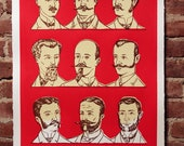 Facial Hair of the 20th Century Print Red