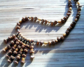 Beaded Tribal Wood Necklace, Hand Made in the USA