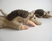 Original Design Cute Armadillos  gloves,long fingerless gloves, costume,  Valentine day, boy, girl - muratyusuf