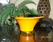 Beautiful Glass Bowl in Orange, Brown and Amber