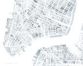 Manhattan New York City Concrete Gray and White 8x8 8x10 11x14 12x12 watercolor map print Summit Ridge