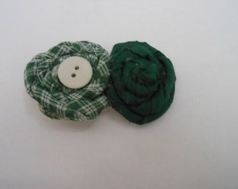 50% off- Green and White Hair Bow
