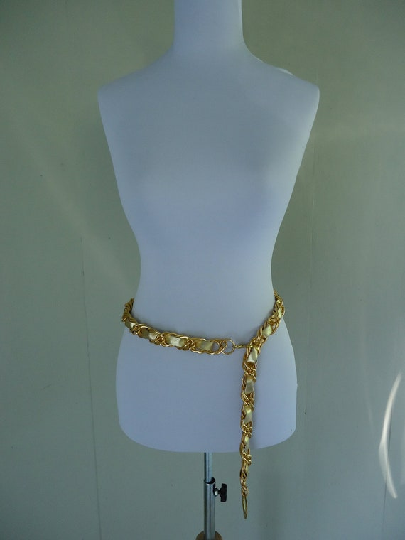 1970s belt / 70s chain belt / Gold and Leather Chain to Chain Belt
