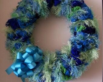 Blue Lagoon Yarn Loop Wreath with Grosgrain Bow - FREE SHIPPING!