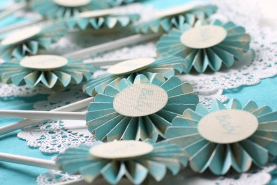 Blue Baby Shower Cupcake Toppers ONE DOZEN Set