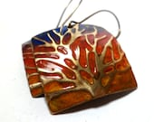 Fall Earrings Embossed Brass With Tree and  Sunset Autumn Jewelry