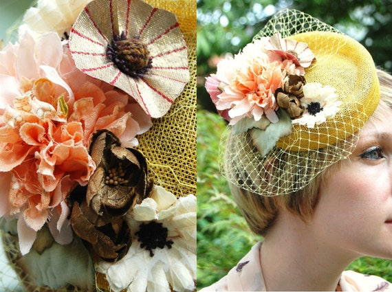 Wildflower Posy yellow cocktail hat