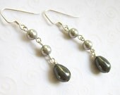Gray Pearl Teardrop Earrings, Dangling Pearl Earrings, Elegant Classic Jewelry