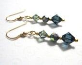 Blue Crystal Drop Earrings, Swarovski Blue and Gray Crystal Bicone Earrings, Gold Filled Elegant Dangle Earrings, Modern Jewelry