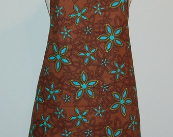 Chocolate Brown with Blue Floral Printed Apron