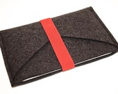 iPad Wool Felt Sleeve/Case Double Pocket in Anthracite with Red Elastic Trim