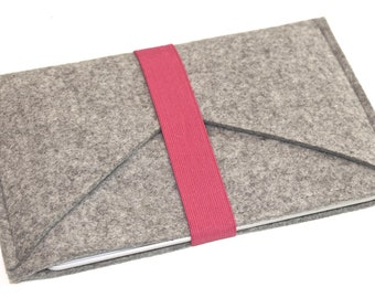 iPad Mini Wool Felt Sleeve/Case Double Pocket in Granite with Elastic Trim