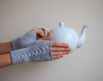 Grey Fingerless Gloves Wrist Warmers Arm warmers  Cable  Knit Mittens