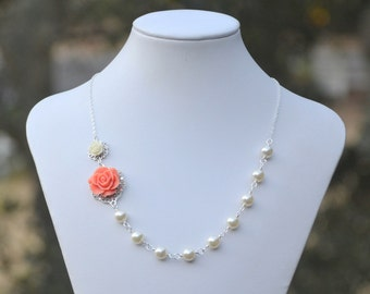 Bridesmaid Jewelry: Coral and Ivory Rose Asymmetrical Pearl Necklace with Ivory Swarovski Pearls.  Wedding Jewelry. Bridesmaid Necklace.