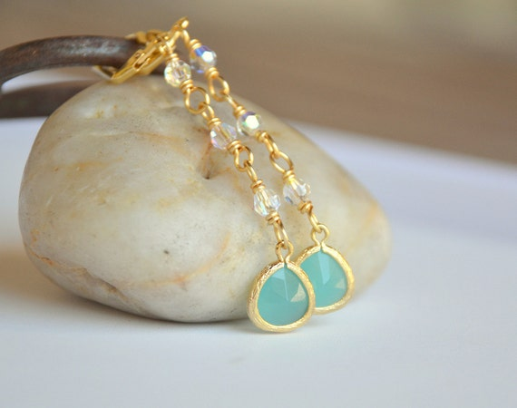 Turquoise Teardrop Long Dangle Earrings in Gold with Swarovski Crystals