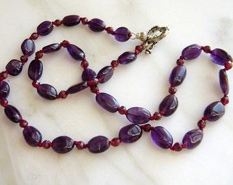 Royal Purple Amethyst Garnet Necklace