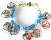 Betty Boop snowy winter wonderland and new year theme  heart charm bracelet Christmas bracelet ,Betty Boop bracelet, winter bracelet,