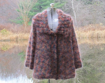 Hand Knit, Stylish, One of a Kind, Mohair Knit Jacket, Size: 10 - 14, Free Shipping in U.S.