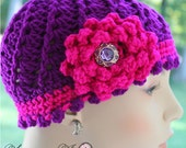Vintage, Swirl Hat, Handmade, Fucshia, Neon Purple, Handmade Flower, Crochet, Girl, Toddler, Teen, Photo Prop, READY TO SHIP