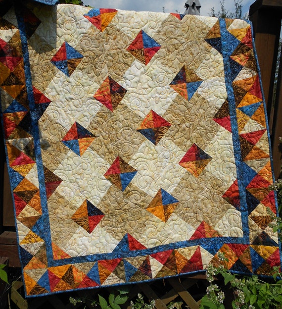 Quilt Pattern PDF Instant Download - Autumn Gems - Tonga Treat, Layer Cake  & Fat Quarter Friendly EASY All Sizes
