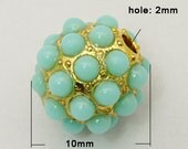 1 pc Golden  Mint Round Beads - 10mm