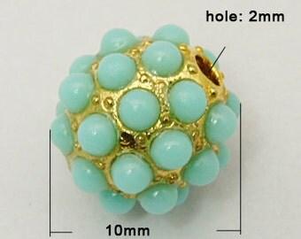 1 pc Golden  Mint Round Beads - 10mm