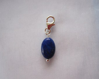 Sterling silver clip on charm, Chakra Healing blue LAPIS LAZULI bead, fits link bracelet