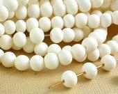 20 White Bone Round 5mm - 6mm Beads Off White Ivory color Natural Beads Animal Bone Beads