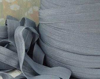5yds Elastic Fold Over HeadBands Ponytail 5/8 inch 15mm FOE Grey Gray Stretch Trim
